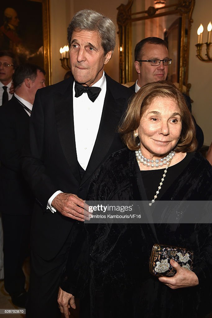The Secretary of State, John Kerry and Teresa Heinzattends the Bloomberg & Vanity Fair cocktail reception following the 2015 WHCA Dinner at the residence of the French Ambassador on April 30, 2016 in Washington, DC.