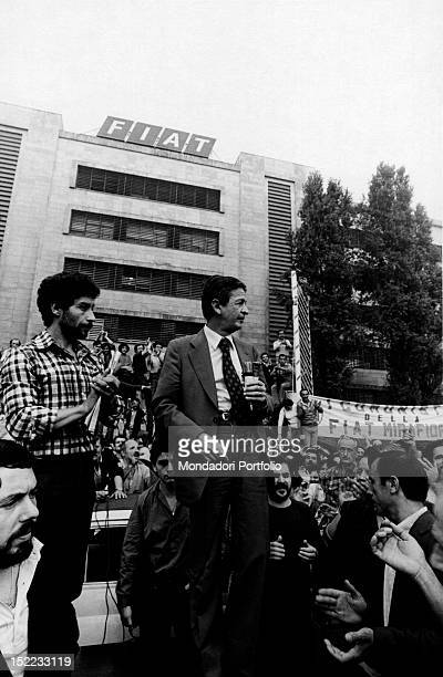 The secretary of the Italian Communist Party Enrico Berlinguer speaking at FIAT headquarters during a strike Turin September 1980