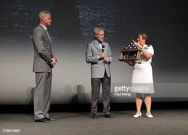 The Secretary of the Navy Ray Mabus and Admiral Dawn Cutler present actor Eric Dane with a Shadow Box containing Navy medals earned by his father at...