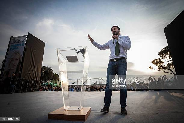 The secretary of the Northern League Matteo Salvini attends the election campaign of Giorgia Meloni in Rome Italy on April 21 2016
