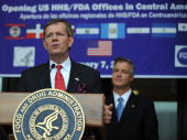 The Secretary of the US Department of Health and Human Services Michael O Leavitt delivers a speech during the opening ceremony of an office of the...