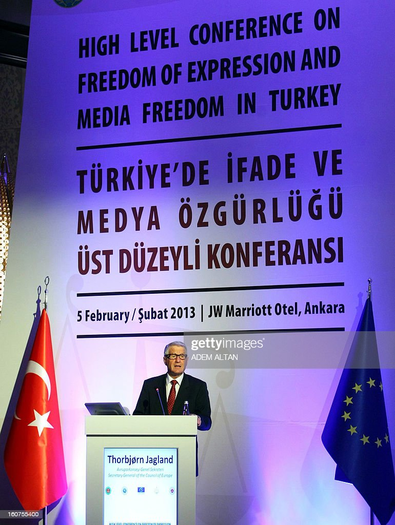 The secretary-general of the Council of Europe Thorbjorn Jagland speaks during a meeting on 'Freedoms of Expression and Press in Turkey' in Ankara, on February 5, 2013. Turkey is facing hundreds of cases before the European Court of Human Rights in the area of freedom of expression. The secretary-general called for legislative reforms for Turkey to comply with European standards to safeguard the freedom of expression. AFP PHOTO/ADEM ALTAN