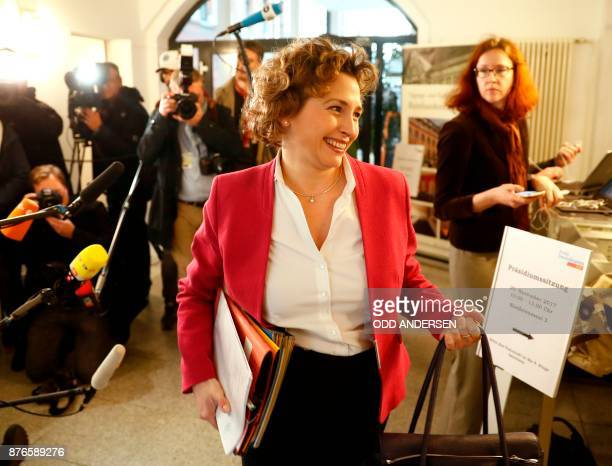 The SecretaryGeneral of the Free Democratic Party Nicola Beer arrives for a leadership meeting on November 20 2017 at the FDP party's headquarters in...