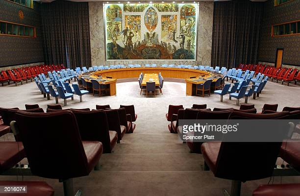 The Security Council chamber where some of the world's most important decisions are made stands empty May 20 2003 at the United Nations in New York...