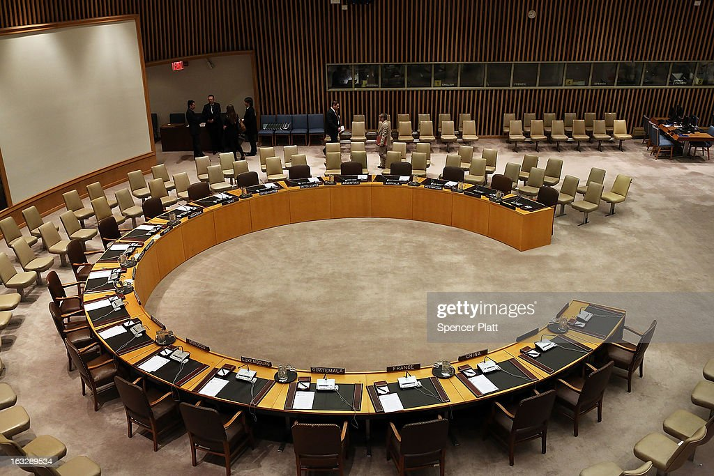 The Security Council is viewed before members meet in New York to vote on imposing a fourth round of sanctions against North Korea in an attempt to halt its nuclear and ballistic missile programs on March 7, 2013 in New York City. North Korea vowed today to launch a preemptive nuclear strike against the United States.