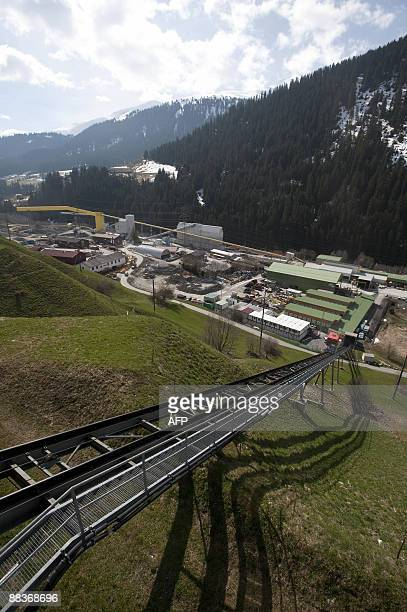 The Sedrun entrance to the 57kilometre railway tunnel under construction under the Alps at Sedrun on May 6 2009 The new St Gotthard tunnel is...
