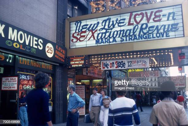 The seedy side of West 42nd Street and Eighth Avenue circa 1980 in New York City