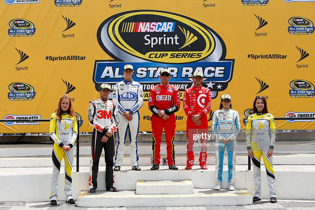 The segment winners, <a gi-track='captionPersonalityLinkClicked' href=/galleries/search?phrase=Trevor+Bayne&family=editorial&specificpeople=5533943 ng-click='$event.stopPropagation()'>Trevor Bayne</a>, driver of the #6 AdvoCare Ford, <a gi-track='captionPersonalityLinkClicked' href=/galleries/search?phrase=Greg+Biffle&family=editorial&specificpeople=209093 ng-click='$event.stopPropagation()'>Greg Biffle</a>, driver of the #16 Cheez-It Ford, and <a gi-track='captionPersonalityLinkClicked' href=/galleries/search?phrase=Kyle+Larson+-+Race+Car+Driver&family=editorial&specificpeople=2115989 ng-click='$event.stopPropagation()'>Kyle Larson</a>, driver of the #42 Target Chevrolet, pose with the fan vote winners <a gi-track='captionPersonalityLinkClicked' href=/galleries/search?phrase=Chase+Elliott&family=editorial&specificpeople=3623017 ng-click='$event.stopPropagation()'>Chase Elliott</a>, driver of the #24 3M Chevrolet, and <a gi-track='captionPersonalityLinkClicked' href=/galleries/search?phrase=Danica+Patrick&family=editorial&specificpeople=183352 ng-click='$event.stopPropagation()'>Danica Patrick</a>, driver of the #10 Nature's Bakery Chevrolet, in Victory Lane after the NASCAR Sprint Cup Series Sprint Showdown at Charlotte Motor Speedway on May 21, 2016 in Charlotte, North Carolina.