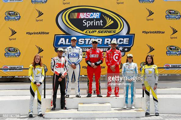 The segment winners Trevor Bayne driver of the AdvoCare Ford Greg Biffle driver of the CheezIt Ford and Kyle Larson driver of the Target Chevrolet...