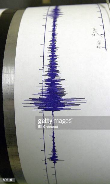 The seismograph at Saint Louis University School of Earth and Atmospheric Sciences shows the earthquake activity February 28 2001 that occured in...