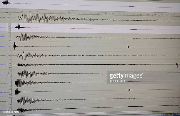The seismograph of the 69 earthquake that hit central Philippines is seen on a computer monitor shown during a press conference in Manila on February...