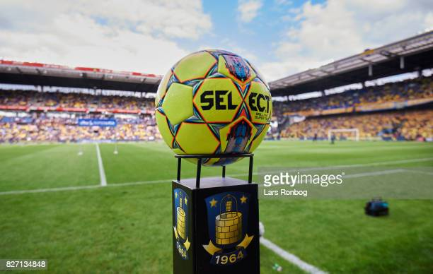 The Select Sport matchball ready prior to the Danish Alka Superliga match between Brondby IF and FC Copenhagen at Brondby Stadion on August 6 2017 in...