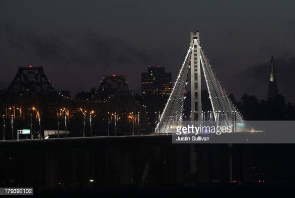 The selfanchored suspension tower of the new eastern span of the San Francisco Oakland Bay Bridge on August 30 2013 in Emeryville California After...