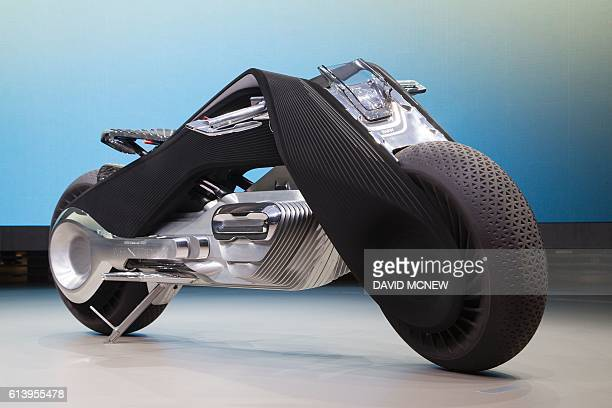 The selfbalancing BMW Motorrad VISION NEXT 100 concept motorcycle is unveiled on the last of four international stops of the 'Iconic Impulses' event...