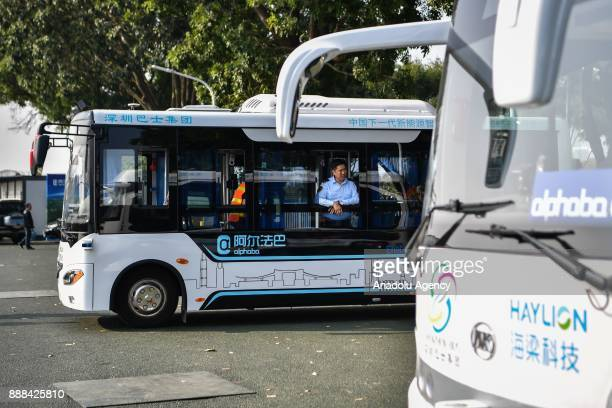 The selfdriving bus are being display on December 8 2017 in Shenzhen China The buses have designed speed of 10 to 30 kph Equipped with lidar censors...