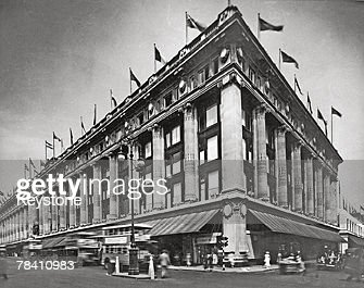 The Selfridges flagship store on London's Oxford Street at the corner with Duke Street 1st February 1935