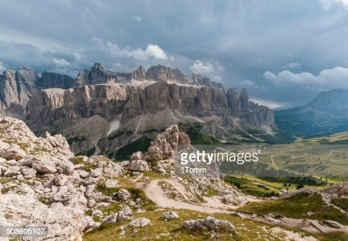 The Sella Group, a plateau in the Dolomites, Italy. : Stock Photo