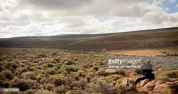 The semi arid region of the Great Karoo attracts both photographers and star gazers to enjoy the dramatic scenery and contrast of day time and the unbelievable clear skies of night, Sutherland, South Africa