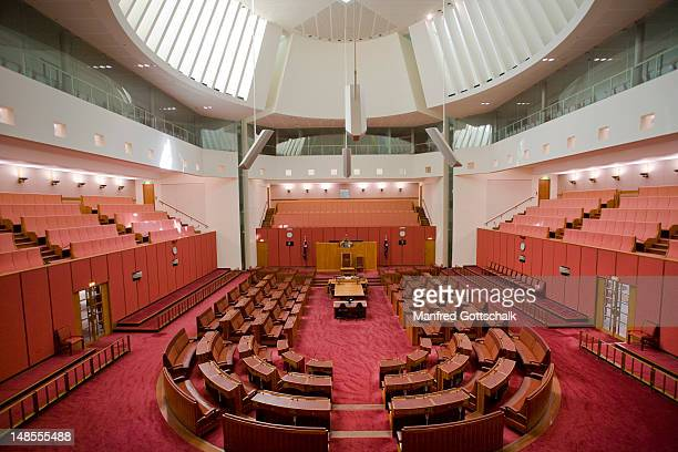 The Senate Chamber at the Parliament of the Commonwealth of Australia.