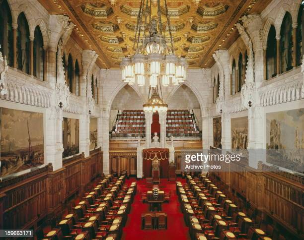 The Senate Chamber in Ottawa Canada circa 1960 The war paintings on the walls were originally part of a collection from Lord Beaverbrook's Canadian...