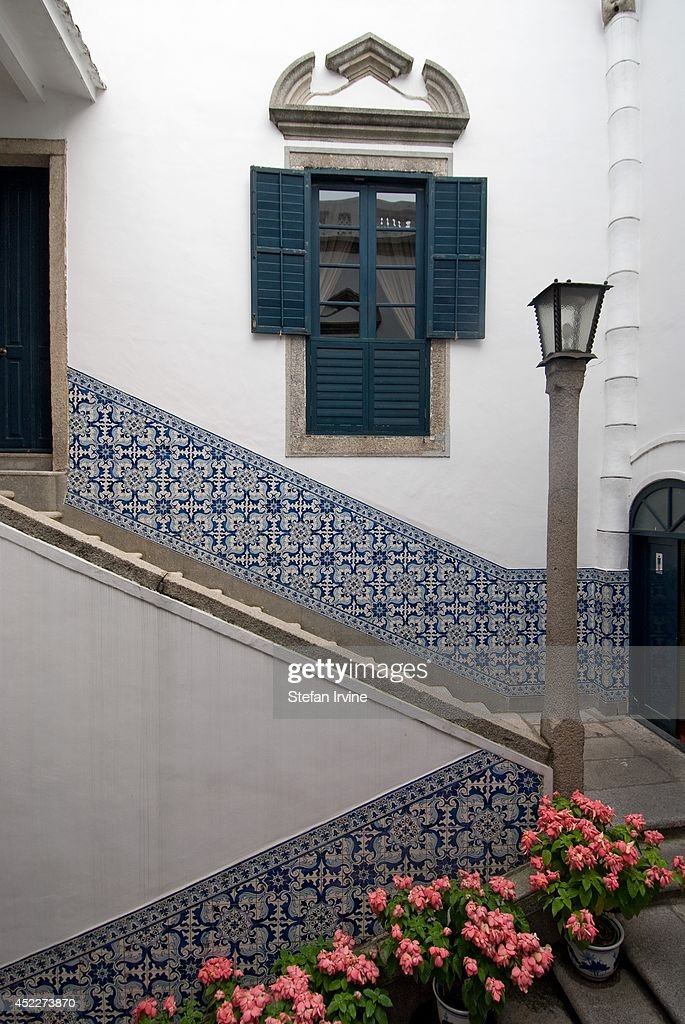 The Senate House ('Leal Senado') boasts traditional Portuguese design with interior courtyard walls decorated with classic blue and white azulejo tiling.