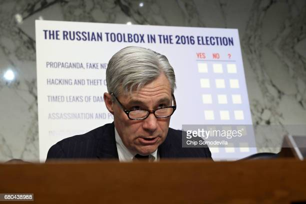 The Senate Judiciary Committee's Subcommittee on Crime and Terrorism ranking member Sen Sheldon Whitehouse delivers opening remarks during a hearing...