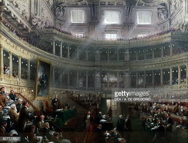 The Senate presided over by Cesare Alfieri di Sostegno in 1860 by Carlo Bossoli Italy 19th century