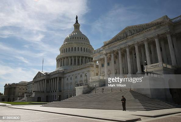 The Senate side of the US Capitol is shown October 11 2016 in Washington DC House and Senate Republicans are in a close race with Democrats to keep...