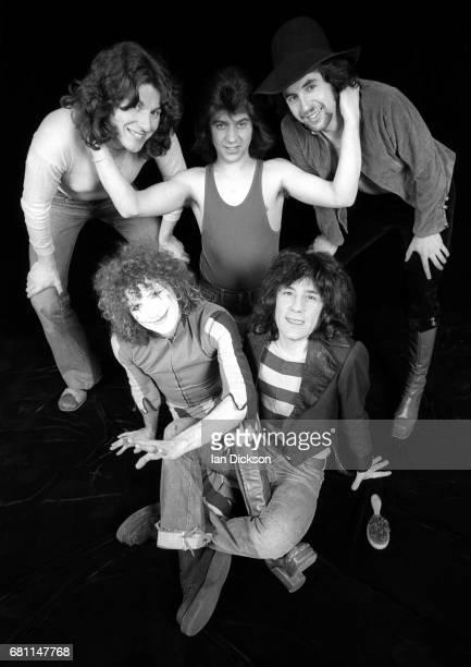 The Sensational Alex Harvey Band group portrait at Kingly Court Studios London January 1974 Clockwise from top left Ted McKenna Chris Glen Hugh...