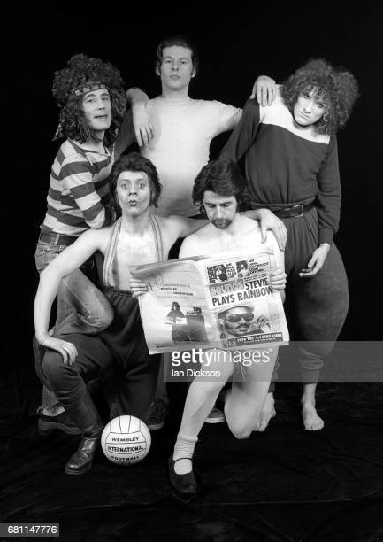 The Sensational Alex Harvey Band group portrait at Kingly Court Studios London January 1974 Clockwise from top left Alex Harvey Ted McKenna Zal...