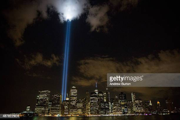 The September 11 Tribute in Light rises from the New York City skyline as seen from the Brooklyn Heights neighborhood of the Brooklyn Borough of New...