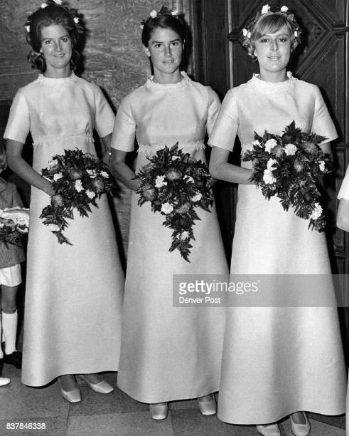The September Wedding Scene Bridesmaids at MitchellWaters nuptials are from left Miss Eugenie Milburn Mitchell Mrs Dayton Voorhees III and Mrs Munro...