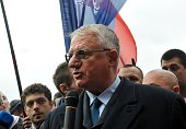 The Serb Radical Party leader Vojislav Seselj speaks to media during a protest in front of the High Court in Belgrade Serbia on April 1 2015