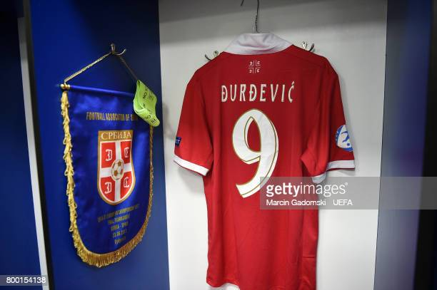 The Serbia dressing room ahead of their UEFA European Under21 Championship match against Spain on June 17 2017 in Bydgoszcz Poland