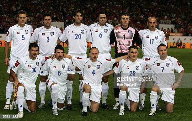 The Serbia team is pictured before the 2006 World Cup qualifying match between Spain and Serbia Montenegro at the Estadio Vicente Calderon on...