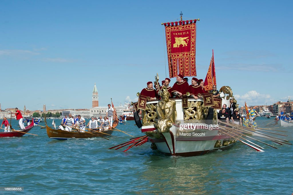 The Serenissima boat sails during the Sensa procession in Bacino Saint's Mark on May 12, 2013 in Venice, Italy. The festival of la Sensa is held in May on the Sunday after Ascension Day and follows a reenactment of the traditional ceremony where the Doge enacted the wedding of Venice to the sea.