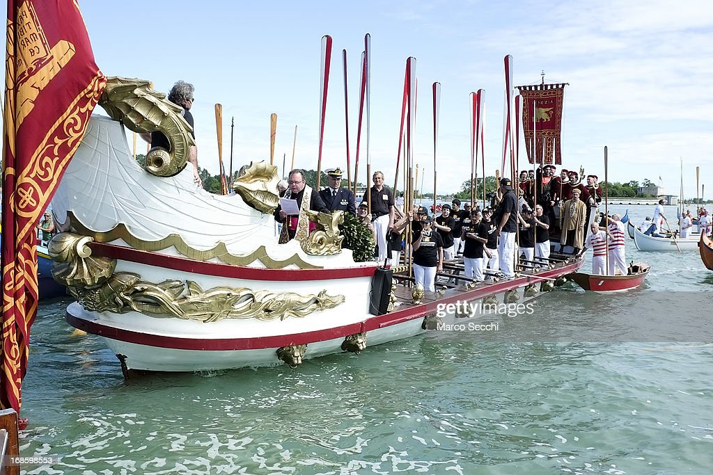 The Serenissima is seen during the Sensa procession in Bacino Saint's Mark on May 12, 2013 in Venice, Italy. The festival of la Sensa is held in May on the Sunday after Ascension Day and follows a reenactment of the traditional ceremony where the Doge enacted the wedding of Venice to the sea.