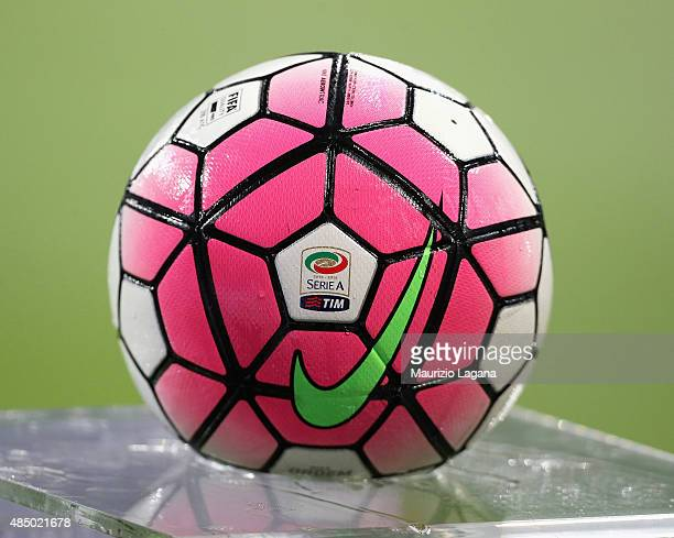 The Serie A ball during the Serie A match between FC Internazionale Milano and Atalanta BC at Stadio Giuseppe Meazza on August 23 2015 in Milan Italy