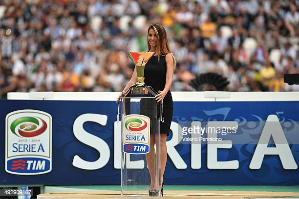 The Serie A trophy is displayed during the Serie A match between Juventus and Cagliari Calcio at Juventus Arena on May 18 2014 in Turin Italy