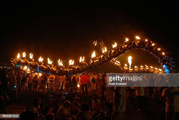 The Serpent Mother by the Flaming Lotus Girls from San Francisco amazes at the Coachella Valley Music Arts Festival in Indio