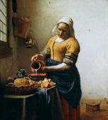 The Servant' also called 'The Milkmaid' or 'The Kitchen Maid' c1660 Oil on canvas Jan Vermeer Dutch Baroque painter Young woman standing at table...