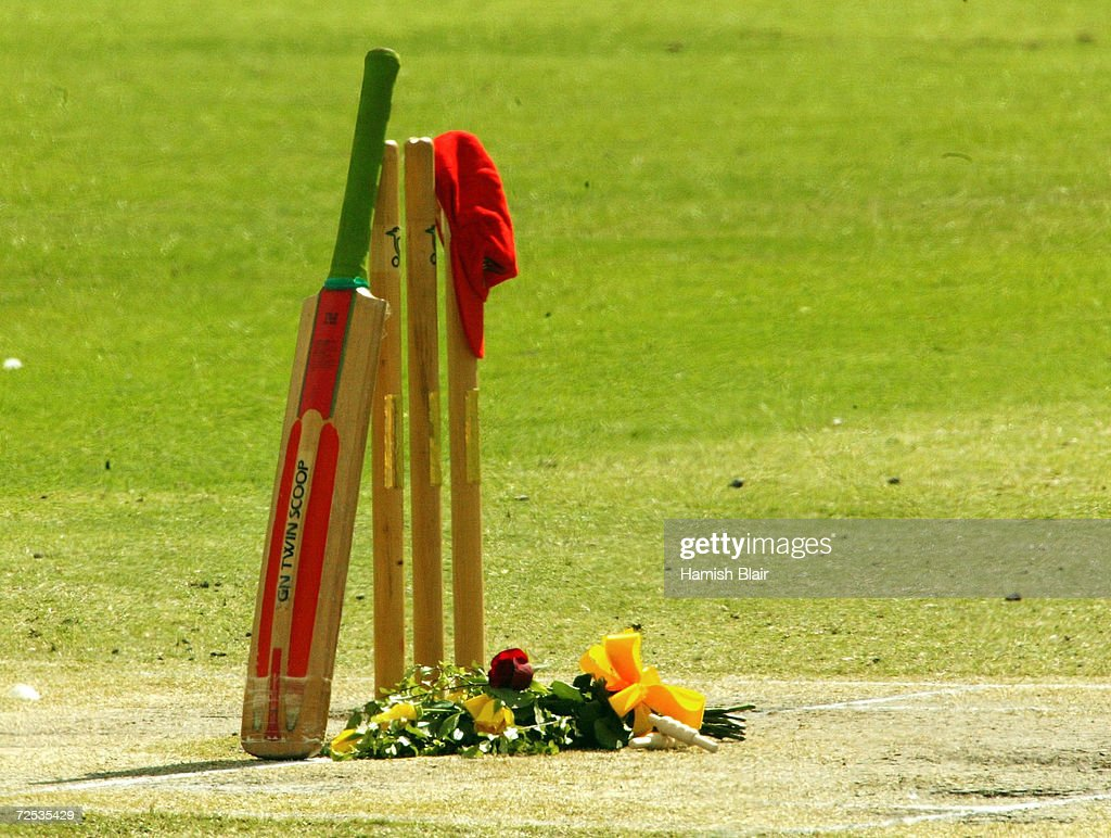The set of stumps used in David Hookes' last game for ...