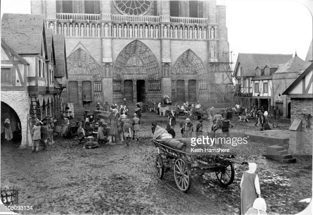 The set of the film 'The Hunchback of Notre Dame' aka 'Hunchback' at Pinewood Studios 1982 In the background is a replica of the Cathedral of Notre...