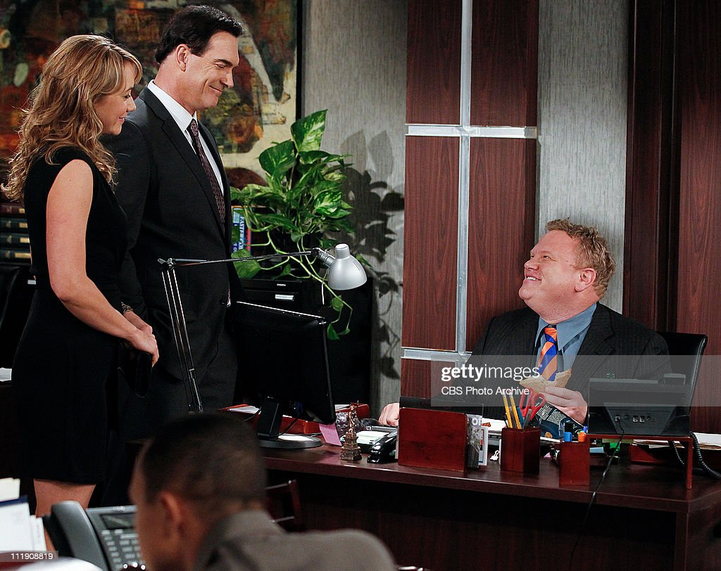 'The Set Up' --Jeff (Patrick Warburton, left) and Audrey (Megyn Price, left) set their neighbor Liz up on a date with his recently divorced co-worker Todd (Larry Joe Campbell, left), on RULES OF ENGAGEMENT, Thursday, March 31 (8:30-9:00 PM, ET/PT) on the CBS Television Network.