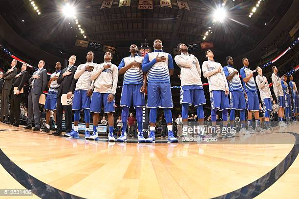 The Seton Hall Pirates line up during introductions of a college basketball game against the Georgetown Hoyas at the Verizon Center on February 17...