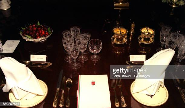 The setting on the banquet table in St Georges' Hall at Windsor Castle for the State Banquet hosted by the Queen and Duke of Edinburgh in honour of...