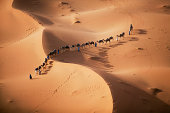 The setting sun over the desert, and a caravan of camel merchants leading their animals across the dunes.