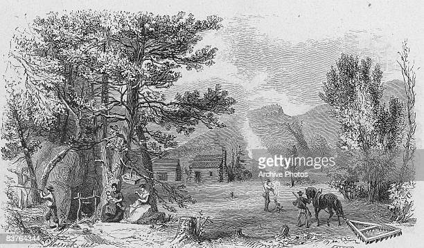 'The Settlers' an engraving of the American Colonial period circa 1760