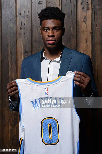 The seventh selection in the 2015 NBA Draft Emmanuel Mudiay of the Denver Nuggets poses for a photo during a press conference on June 26 2015 at the...