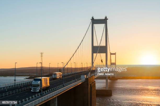 The Severn Bridge over the River Severn Estuary, Aust, South Gloucestershire, England, United Kingdom